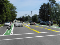 Mock up of road showing bike lane