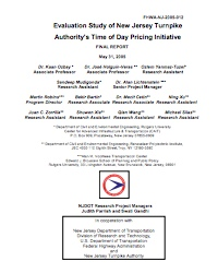 Evaluation of NJ Turnpike and Port Authority Variable Pricing