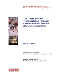 The Crisis in State Transportation Finance: Lessons Learned from the New Jersey Experience